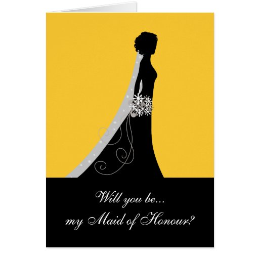 Will You Be My Maid of Honour? Cards Yellow