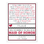 Will you be my Maid of Honour? Deep Red/Black Poem Personalised Invite