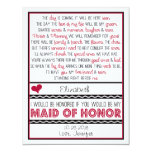 Will you be my Maid of Honour? Deep Red/Black Poem 11 Cm X 14 Cm Invitation Card