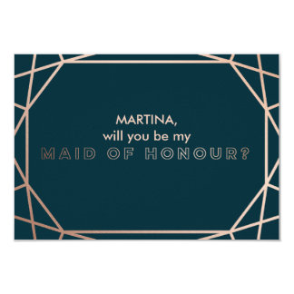 Will you Be my Maid of Honour Geometric Gemstone Card