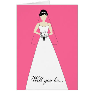 Will You Be My Maid of Honour? Hot Pink Note Card