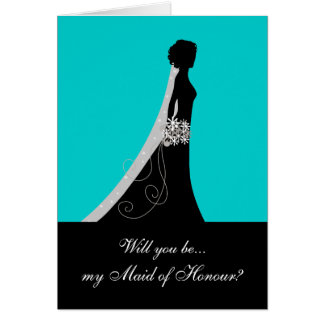 Will You Be My Maid of Honour? Note Cards Aqua