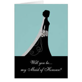Will You Be My Maid of Honour? Note Cards Blue