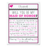 Will you be my Maid of Honour? Pink/Black Collage Invites