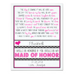 Will you be my Maid of Honour? Pink/Black Poem V2 Personalised Announcement