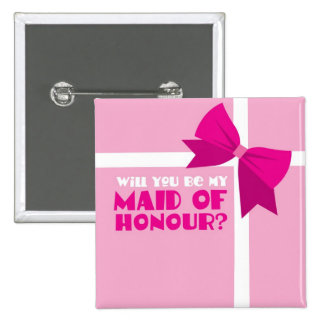 Will you be my maid of honour? pink bows 15 cm square badge