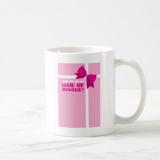 Will you be my maid of honour? pink bows mugs