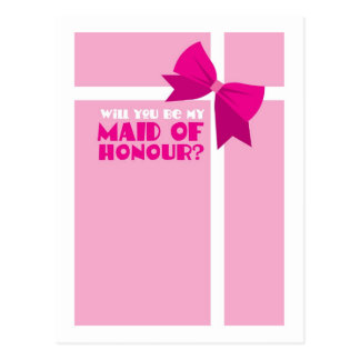 Will you be my maid of honour? pink bows postcard