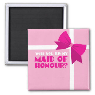 Will you be my maid of honour? pink bows square magnet