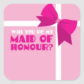 Will you be my maid of honour? pink bows square sticker