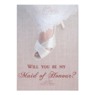 Will You Be My Maid of Honour? Pretty in Pink! 13 Cm X 18 Cm Invitation Card