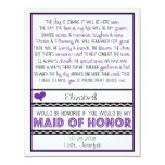 Will you be my Maid of Honour? Purple/Black Poem Personalised Invitation