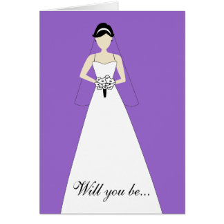 Will You Be My Maid of Honour? Purple Greeting Cards