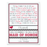 Will you be my Maid of Honour? Red/Black Poem V2 Personalised Invite