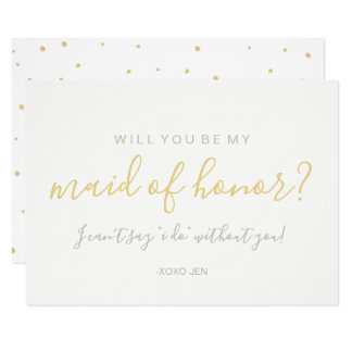 Will You Be My MaidofHonor Card - Gold Dots White
