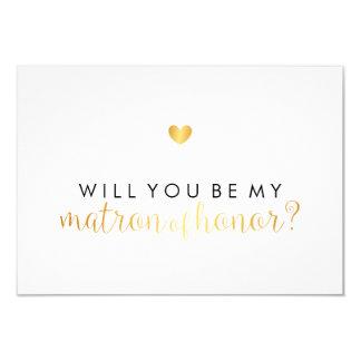 WIll You Be My Matron - Gold Heart Script Fab Card
