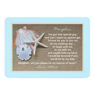 Will You Be My Matron of Honor Beach Blue 13 Cm X 18 Cm Invitation Card