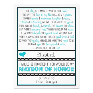 Will you be my Matron of Honor Blue Black Poem Announcements
