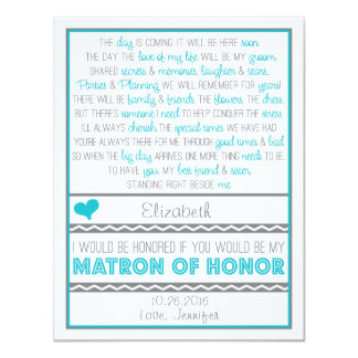 Will you be my Matron of Honor? Blue/Gray Poem Card