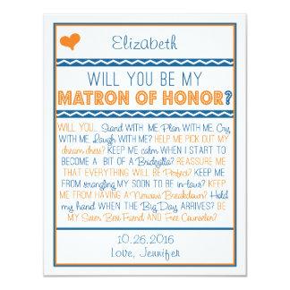 Will you be my Matron of Honor? Navy/Orange Poem 11 Cm X 14 Cm Invitation Card