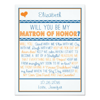 Will you be my Matron of Honor? Navy/Orange Poem 11 Cm X 14 Cm Invitation Card