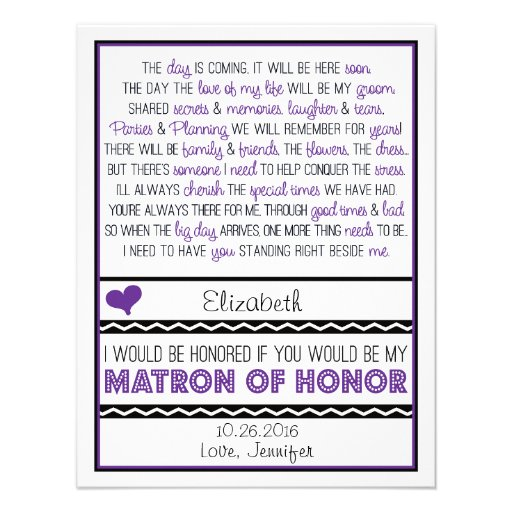 Will you be my Matron of Honor? Purp/Black Poem V2 Announcements
