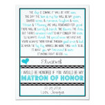 Will you be my Matron of Honour? Blue/Black Poem Custom Announcement