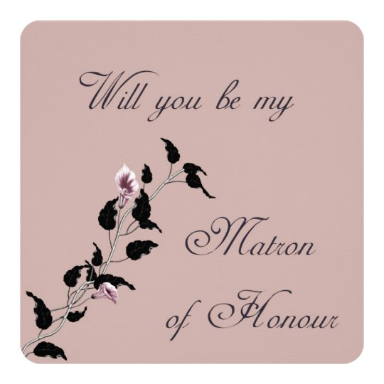 Will You Be My Matron of Honour Pink Invitation