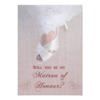 Will You Be My Matron of Honour? Pretty in Pink! 13 Cm X 18 Cm Invitation Card