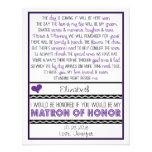 Will you be my Matron of Honour? Purple/Black Poem Custom Invites