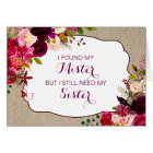 Will you be my Matron of Honour Rustic Floral 3979 Card