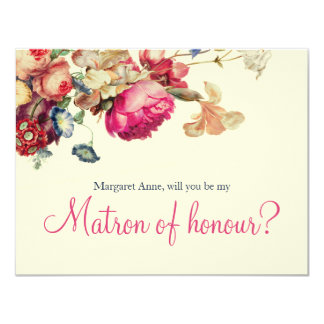 Will you Be my Matron of honour Vintage Floral Card