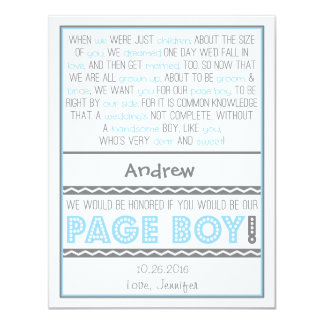 Will you be my Page Boy? Baby Blue/Grey Poem Card 11 Cm X 14 Cm Invitation Card