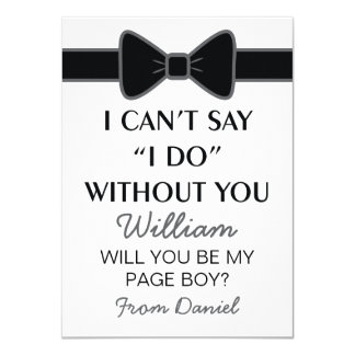 Will You Be My Page Boy Black Bow Tie 11 Cm X 16 Cm Invitation Card