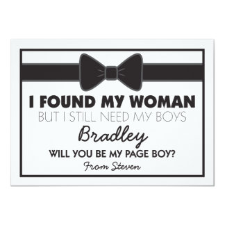 Will You Be My Page Boy Black/White Bow Tie 11 Cm X 16 Cm Invitation Card