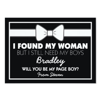 Will You Be My Page Boy Black/White Bow Tie Card