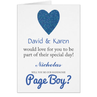 Will You Be My Page Boy Blue Glitter Heart Card