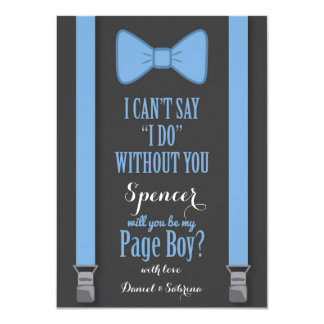 Will You Be My Page Boy - Blue Tie Braces 11 Cm X 16 Cm Invitation Card