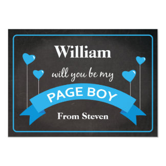 Will You Be My Page Boy Chalkboard Black Blue Card