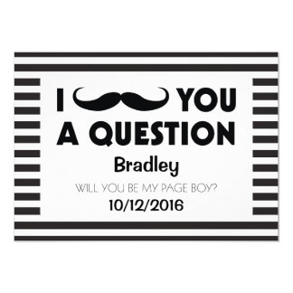 Will You Be My Page Boy Moustache Black Stripes Card