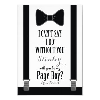 Will You Be My Page Boy - Tuxedo Tie Braces Card