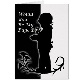 Will you be my pageboy, old time black and white greeting card