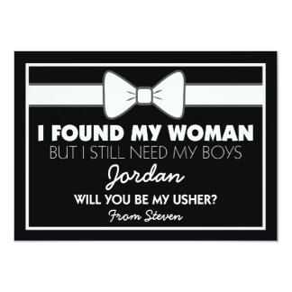 Will You Be My Usher Black/White Bow Tie Card