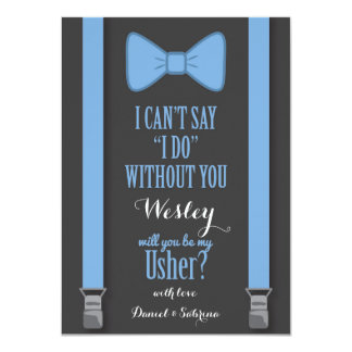Will You Be My Usher - Blue Tie Braces 11 Cm X 16 Cm Invitation Card