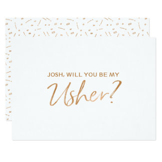 """""""Will you be my usher""""   Gold Rose Hand lettered Card"""