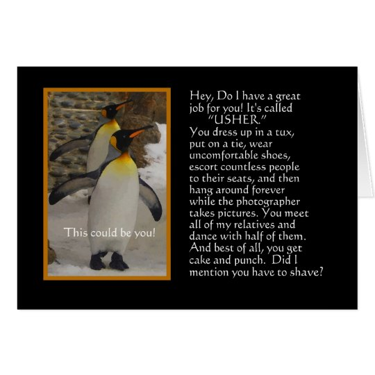 Will You Be My Usher? Penguin Humour Card