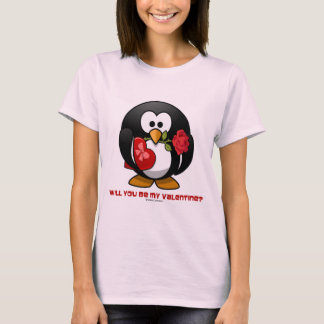 Will You Be My Valentine? (Linux Tux Heart Rose) T-Shirt