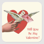 Will You Be My Valentine? Square Stickers