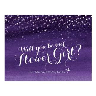 Will you be our flower girl starry sky wedding postcard