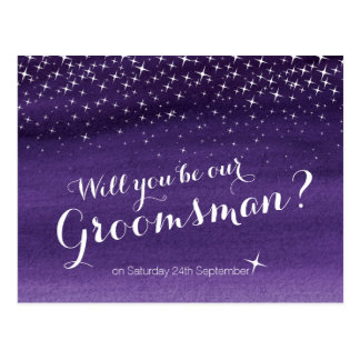 Will you be our groomsman starry sky wedding postcard